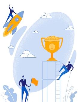 Metáfora de negócios com homem subindo para a copa do troféu de ouro