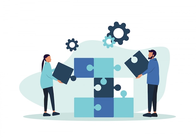 Metáfora do trabalho em equipe. conceito de negócios. dois empresários conectando elementos de quebra-cabeça.