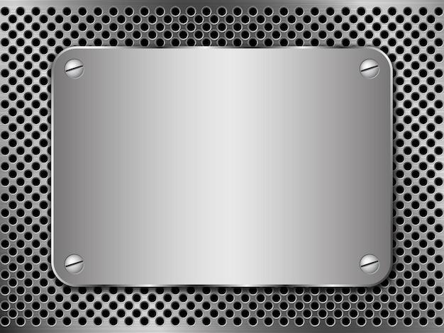 Metal com perfuração e chapa de aço polido fixada com parafusos