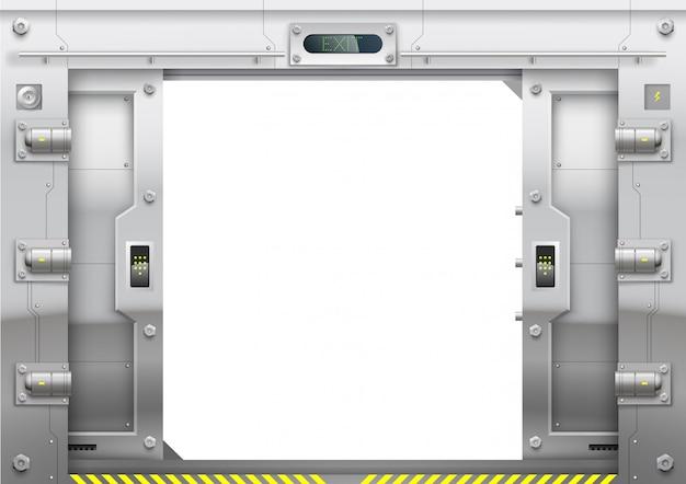 Metal futurista blindado com portão deslizante aberto