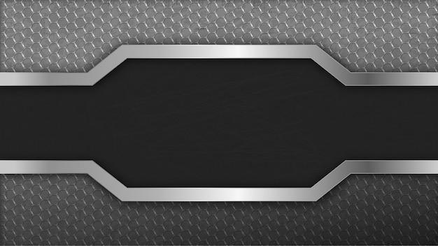 Metal inoxidável do hexágono do fundo no centro. carbono escuro monocromático luz sem emenda.