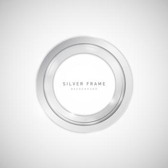Metal prateado abstrato de moldura de círculo com elemento de meio-tom e brilho.