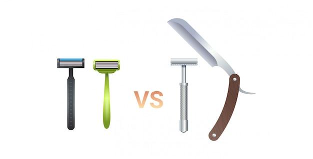 Metal reto vs lâminas de barbear de plástico instrumento de cuidados com a pele zero conceito de desperdício fundo branco liso horizontal