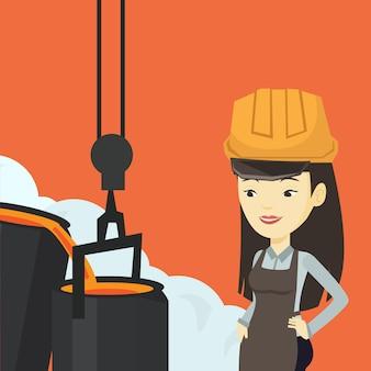 Metalúrgico no capacete de segurança no trabalho na fundição.
