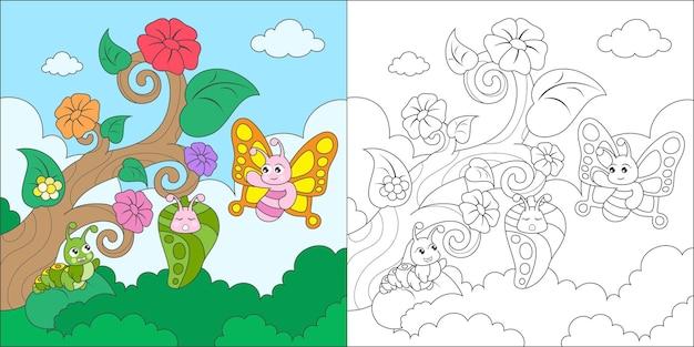 Metamorfose de borboleta colorida