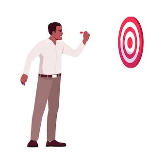Metas corporativas definindo ilustração vetorial de cor rgb semi plana. ceo focado, gerente superior acertando o alvo no personagem de desenho animado isolado alvo de dardos em fundo branco. conceito de planos e objetivos de negócios