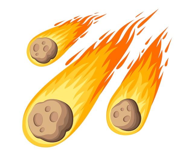 Meteorito em chamas. chuva de meteoros cai no planeta em estilo cartoon. ícone de cor do cataclismo. ilustração em fundo branco. página do site e aplicativo móvel