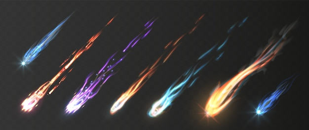 Meteoros e bolas de fogo com trilhas de fogo