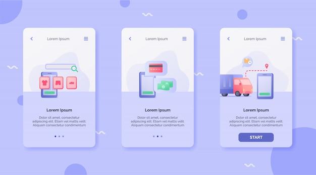 Método de pagamento de loja online de serviço de entrega que rastreia o conceito de campanha de entrega para aplicativos móveis projetar modelo de aterrissagem estilo cartoon plana moderna.
