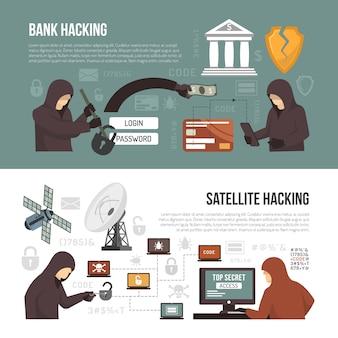 Métodos de atividade de hackers 2 banners planas