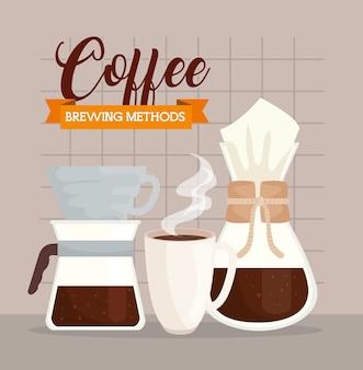 Métodos de café, xícara de cerâmica com chemex e design de derramamento