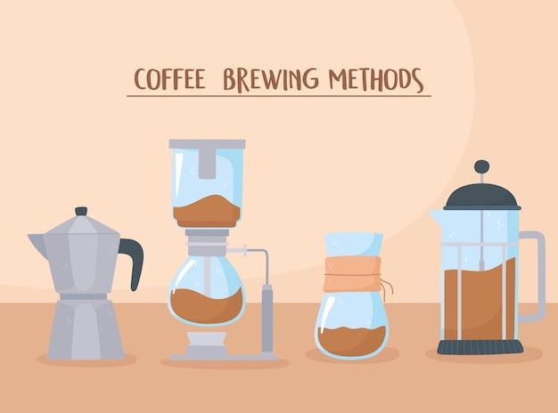 Métodos de fabricação de café em estilo diferente com ilustração de filtro e gotejamento de prensa francesa