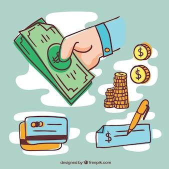 Métodos de pagamento com estilo desenhado à mão