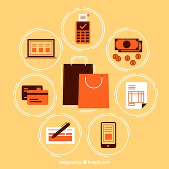 Métodos de pagamento com sacolas shoppin