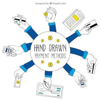 Métodos de pagamento desenhados à mão