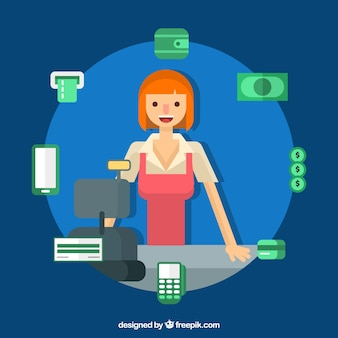 Métodos de pagamento e mulher sorridente
