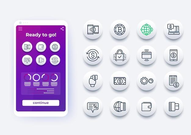 Métodos de pagamento, internet banking, conjunto de ícones de linha de transferência de dinheiro online e maquete de telefone inteligente