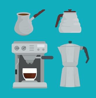 Métodos de preparação de café definir ícones de design