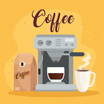 Métodos de preparação do café, saco com cafeteira e design de cerâmica da xícara