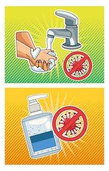 Métodos de prevenção covid19 pandemics icons