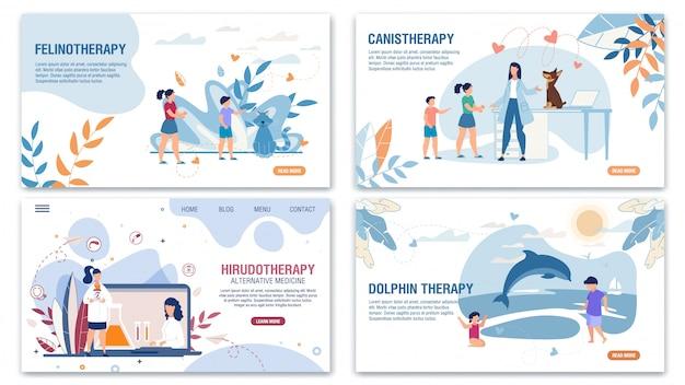 Métodos médicos alternativos landing page flat set