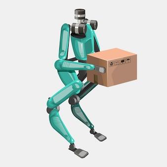 Métodos modernos de entrega de robôs. robô bípede com caixas. conceito de inovação de remessa tecnológica. ilustração vetorial moderna. isolado.