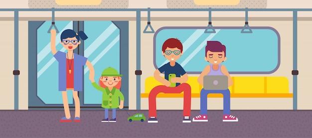 Metro com design plano de pessoas