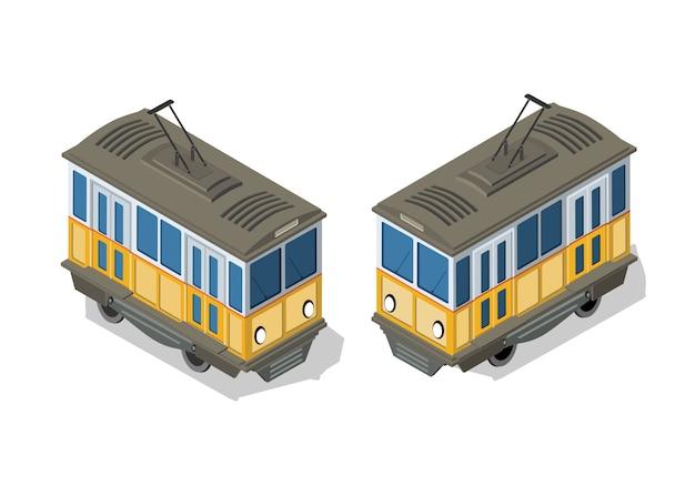 Metro de eléctrico isométrico urbano