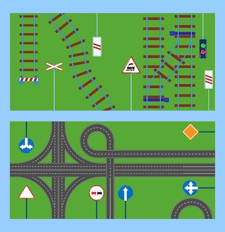 Metrô, ferrovia com esquema de linhas subterrâneas, ilustrações de sinais de precaução de maneira.