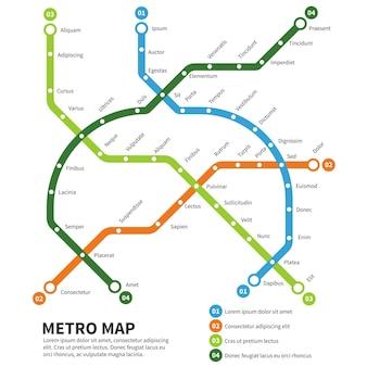 Metro, ilustração do mapa do metrô.