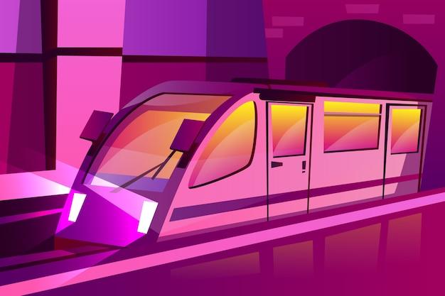 Metrô moderno dos desenhos animados, trem de velocidade subterrânea no estilo futurista de cor roxa