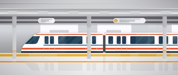 Metrô, plataforma subterrânea com trem moderno. horizontal ilustração colorida em estilo simples.