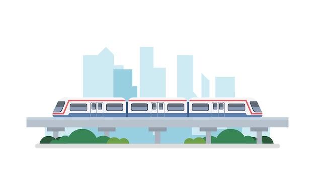 Metrô sobre o arranha-céu da cidade, vista da paisagem urbana