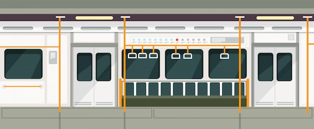 Metro vazio dentro da vista. interior de vetor de transporte de metro