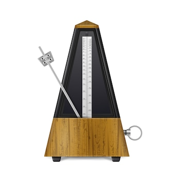 Metrônomo de balanço mecânico de madeira em estilo retro, isolado no branco realista