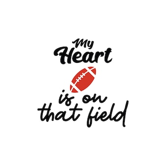 Meu coração está nesse campo letras citação tipografia