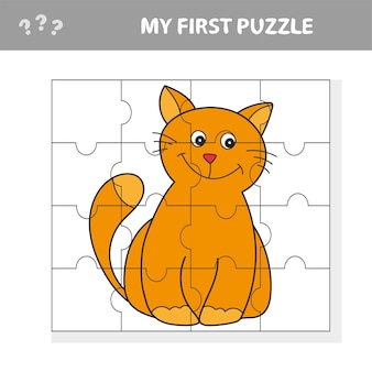 Meu primeiro quebra-cabeça. jogo de quebra-cabeça fofo. ilustração em vetor de jogo de quebra-cabeça com gato feliz dos desenhos animados para crianças