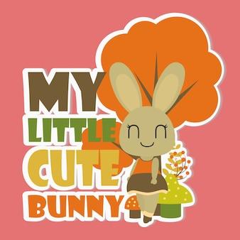 Meus desenhos animados bonitos pequenos do coelho para o t-shirt do miúdo