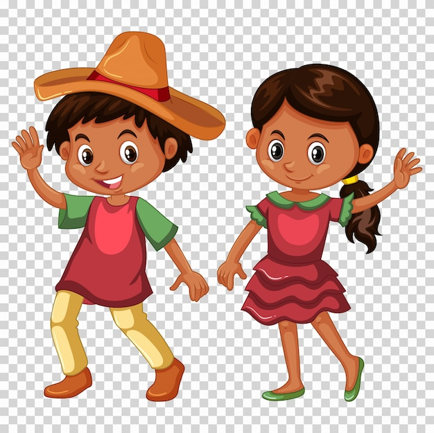 Mexicano, menino menina, em, traje