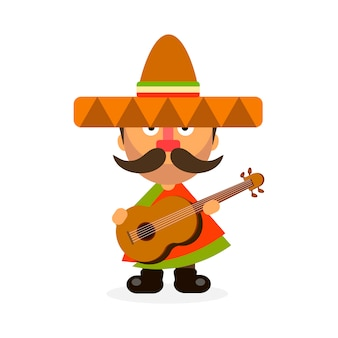 Mexicano quente em sombrero