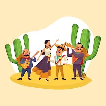 Mexicano, tocando, música, desenhos animados