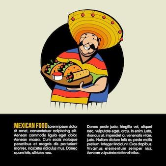Mexicano vestido com um traje nacional e um chapéu segura uma bandeja com comida tradicional mexicana.