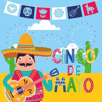 México cinco de mayo cartão