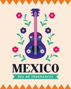 México dia de la independencia com desenho de guitarra, ilustração vetorial do tema cultura