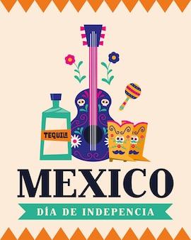 México dia de la independencia com design de guitarra e botas de tequila, tema da cultura ilustração vetorial