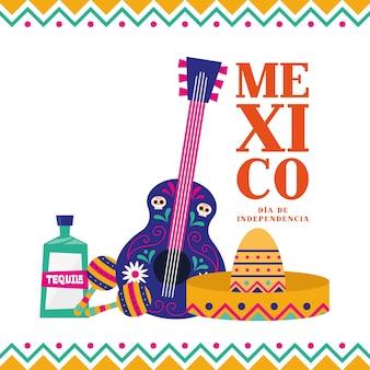 México dia de la independencia com guitarra tequila maracas e design de chapéu, ilustração vetorial de tema cultural