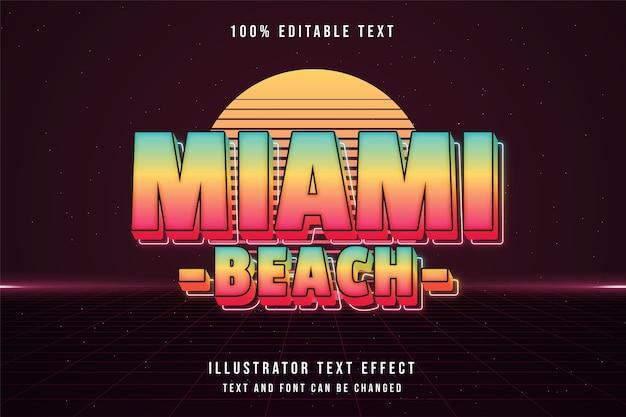 Miami beach, efeito de texto editável em 3d gradação de azul amarelo rosa neon estilo de texto