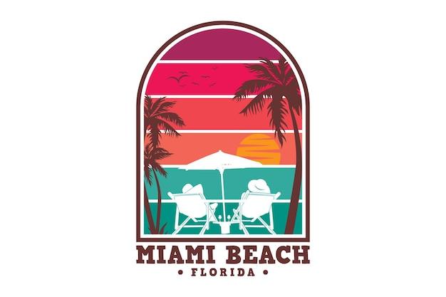 Miami beach, flórida, design elegante em estilo retro Vetor Premium