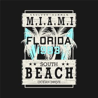 Miami beach, florida, letras, ilustração gráfica de camiseta com tema de praia