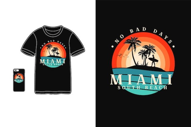 Miami south beach t shirt design silhueta estilo retro